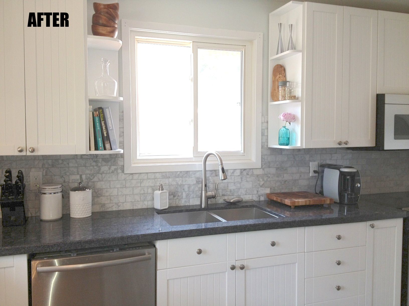 Interesting Grey Backsplash For Interior Kitchen Design