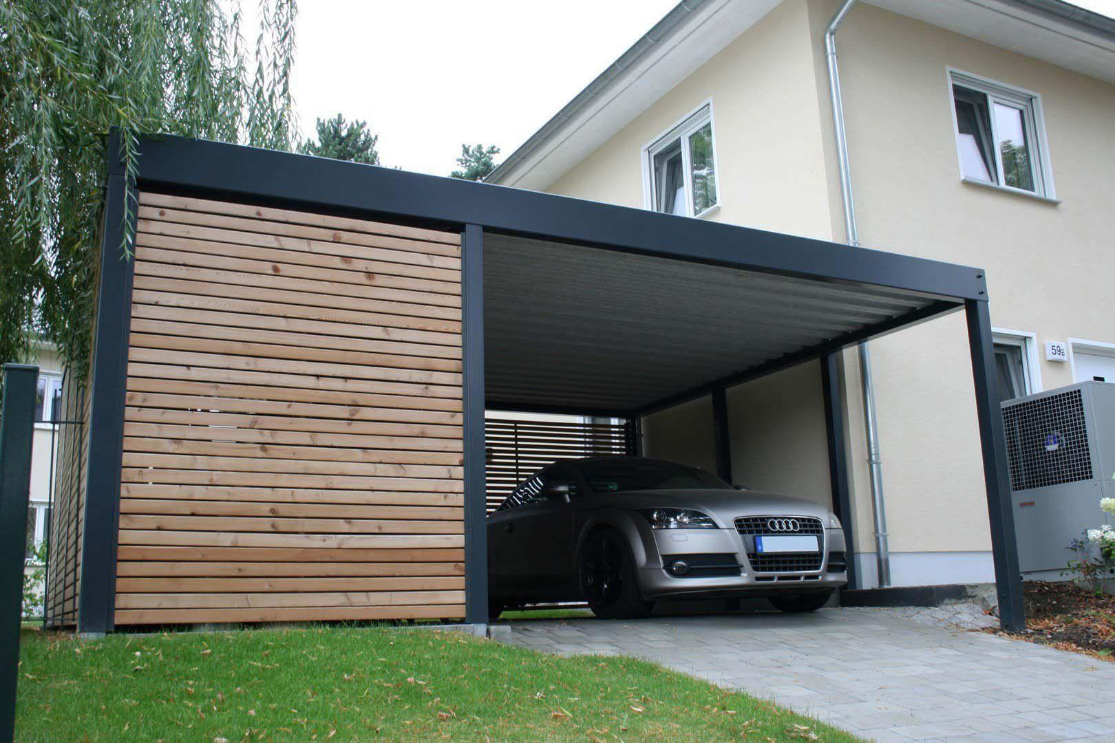 Design Metall Carport aus Holz Stahl mit Geräteraum
