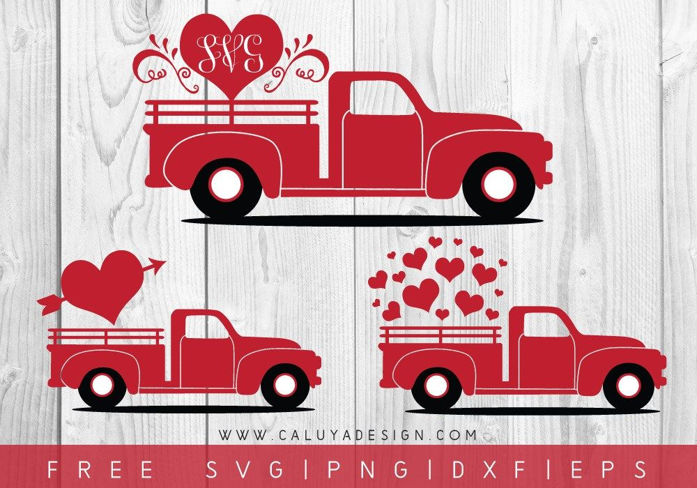 Valentine Heart Truck FREE SVG, PNG, DXF & EPS by Caluya