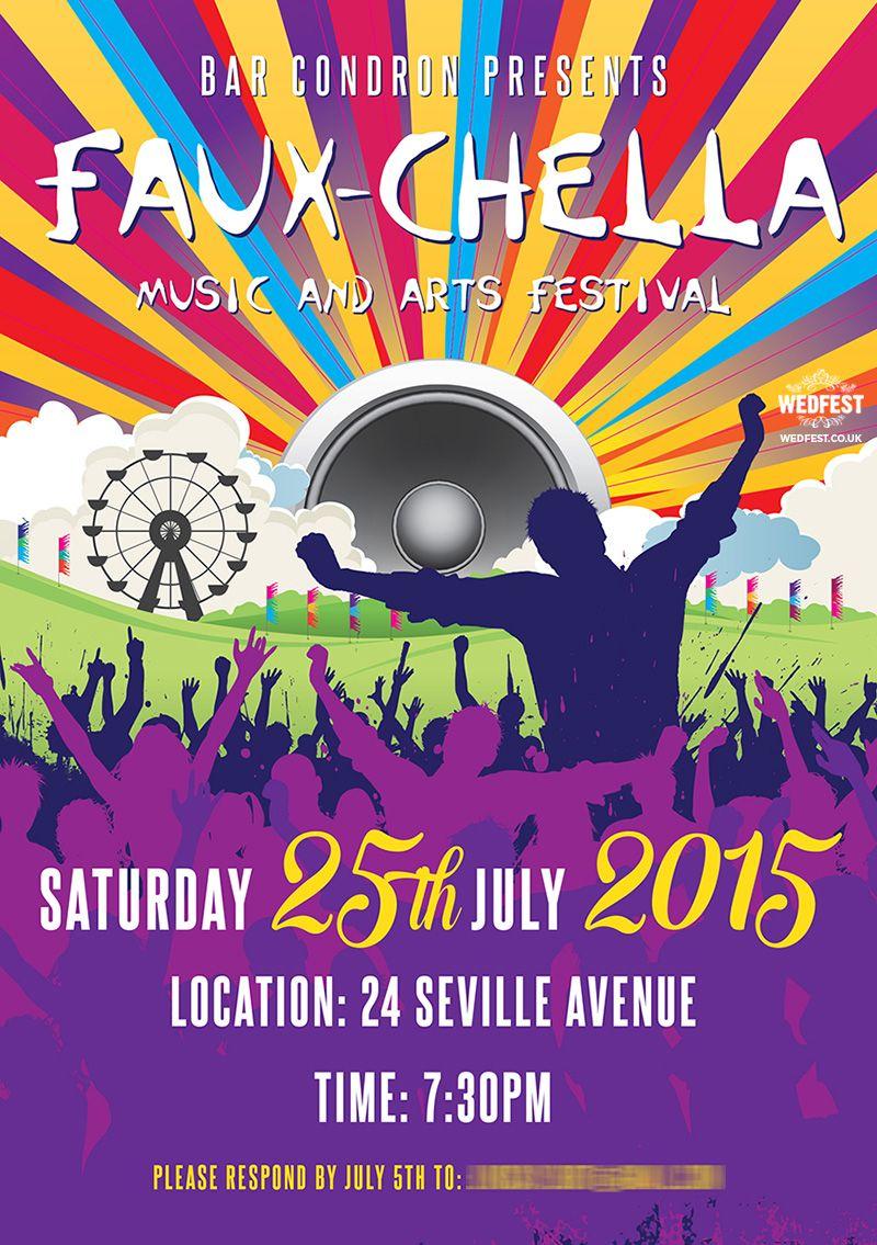 Coachella Themed Party Invite Fauxchella Coachella