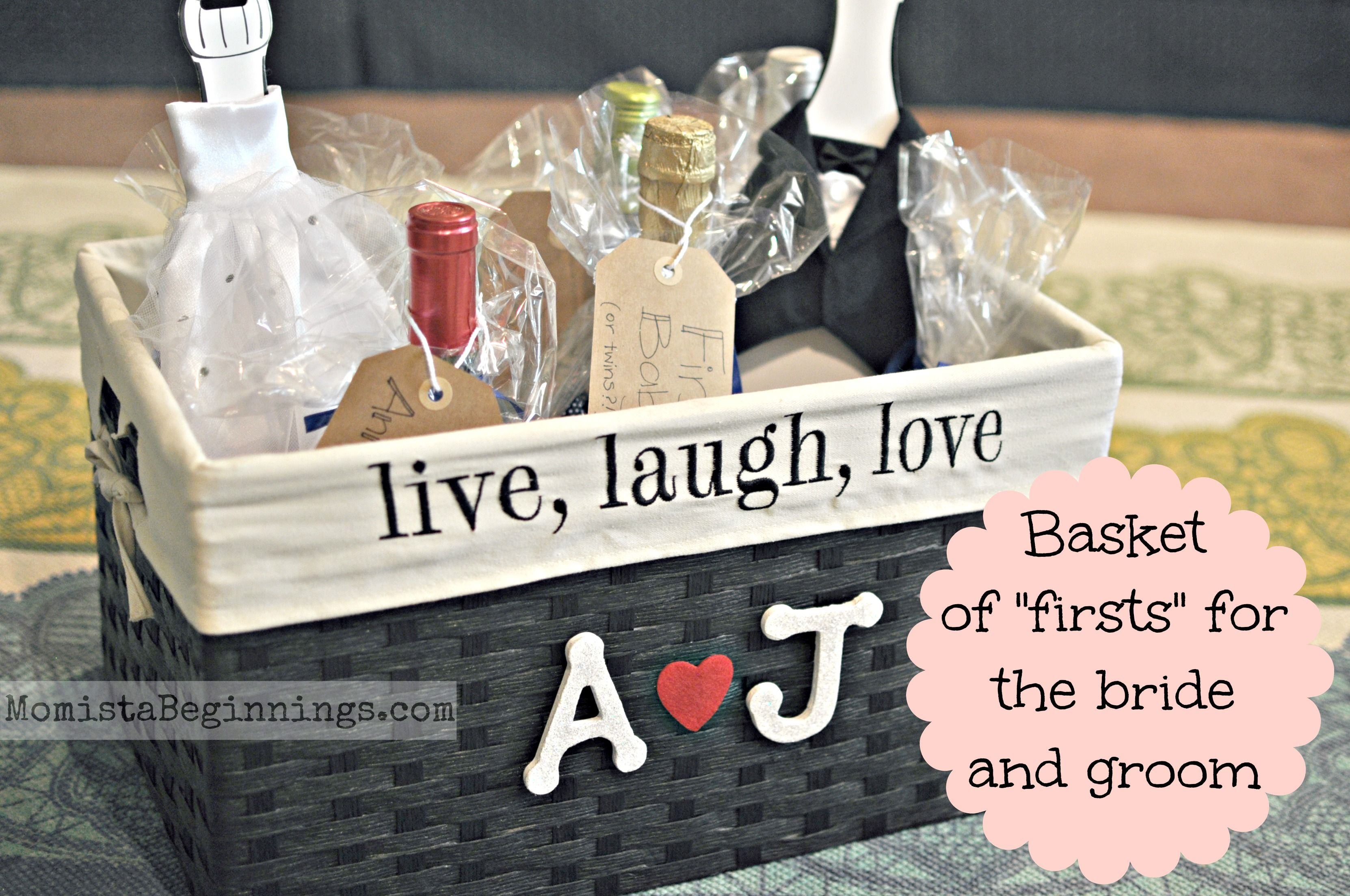 """Basket of """"firsts"""" bridal shower gift. This idea includes"""