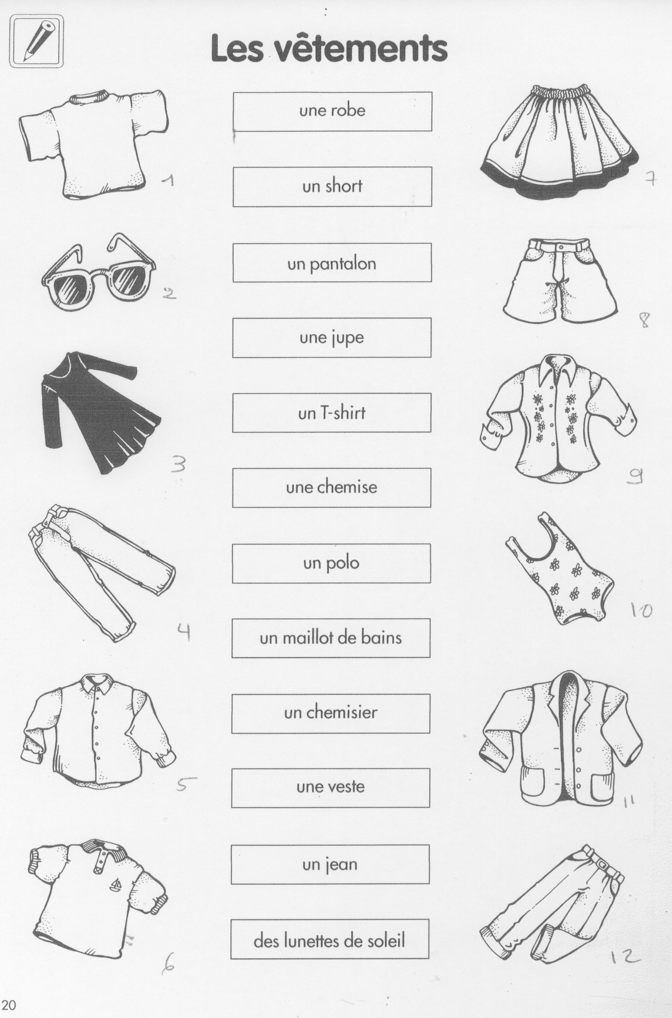 French Clothing Worksheet