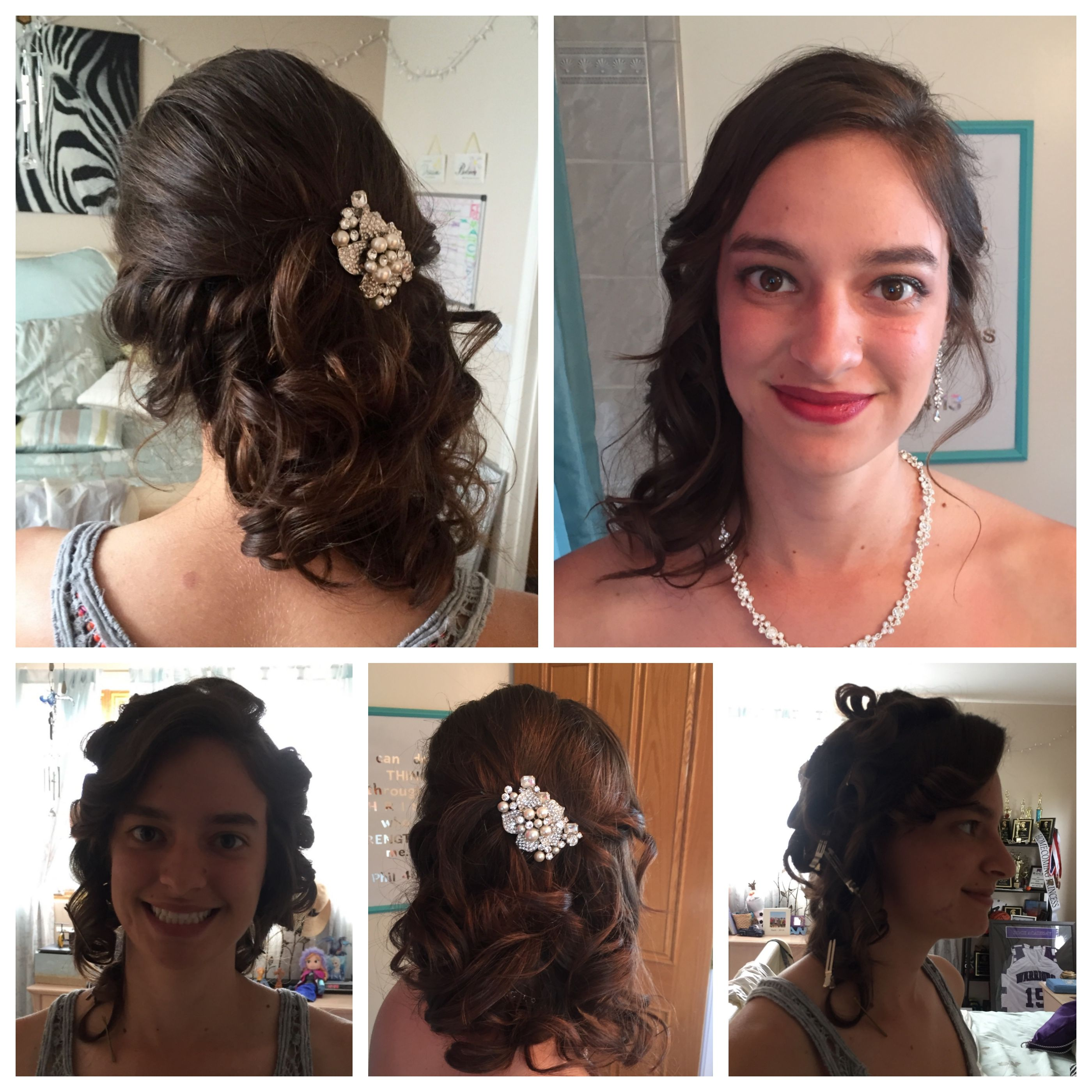 PROM Skyfall Jenna Side twist into side swept curls pinned with