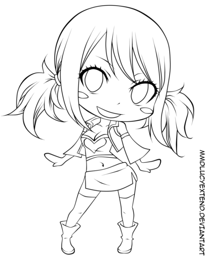 Fairy Tail Coloring Pages Chibi LineArt Fairy Tail