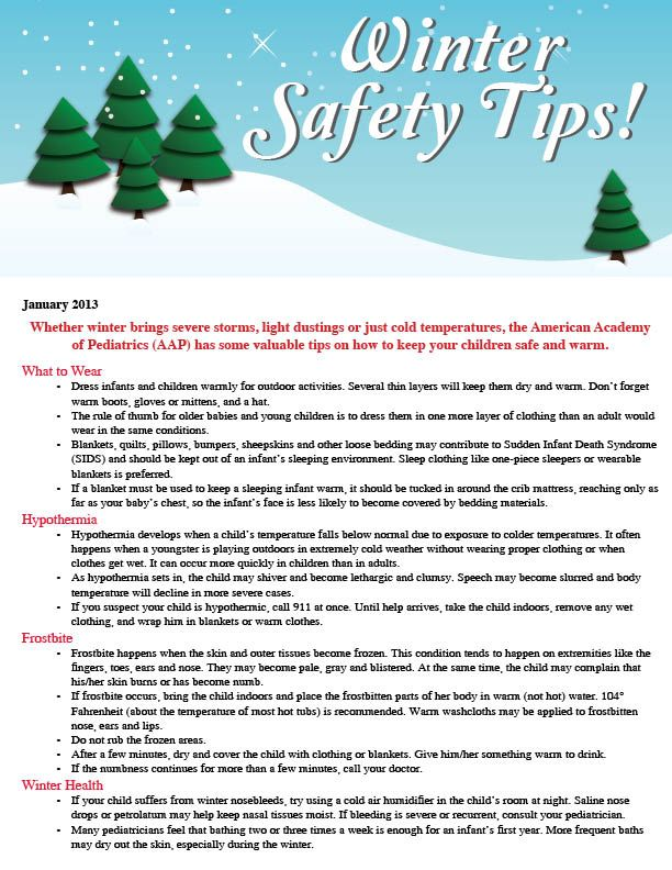 """January 2013 """"Winter Safety Tips"""" Healthy Tips and"""