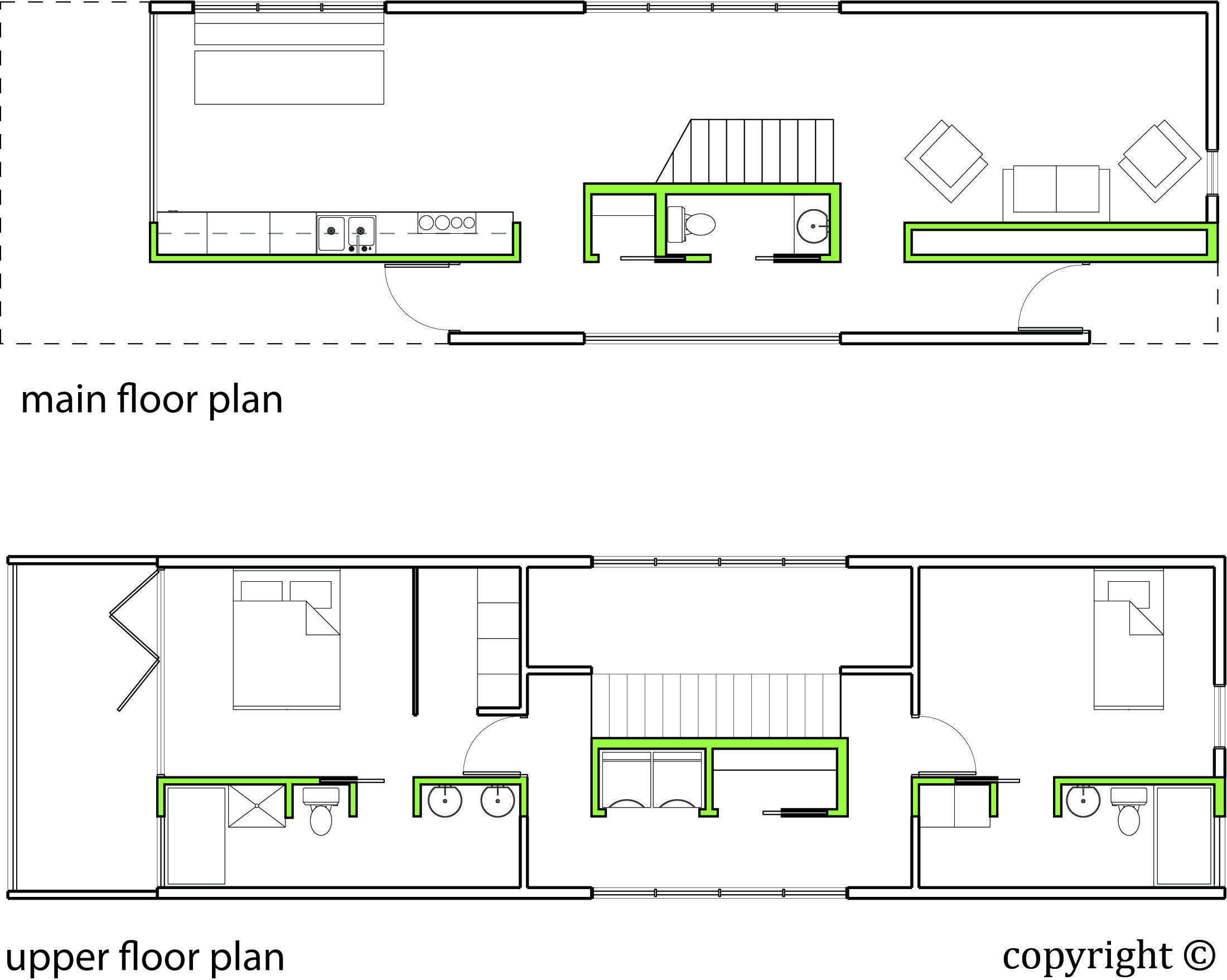 Shotgun House Floor Plan With Stairs In The Center