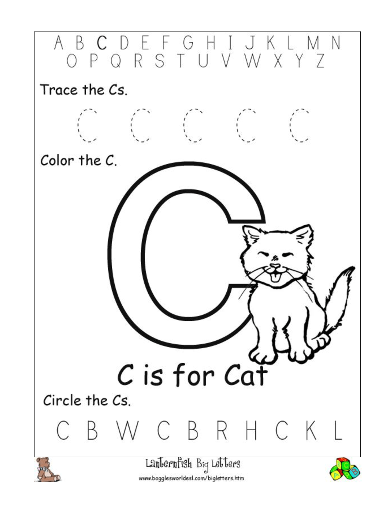 C Preschool Worksheets