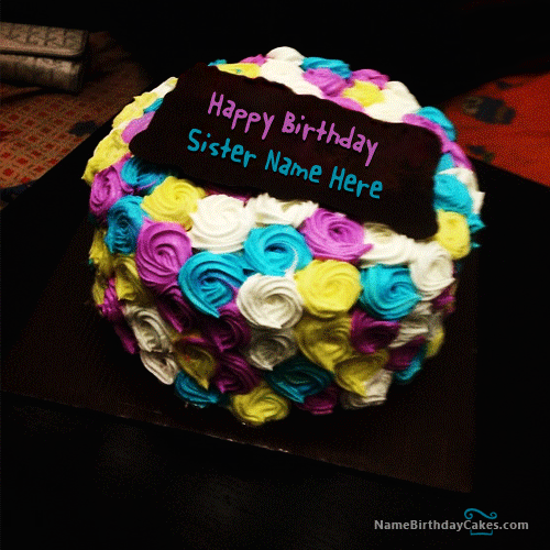 Colorful Birthday Cake For Sister With Name Birthday