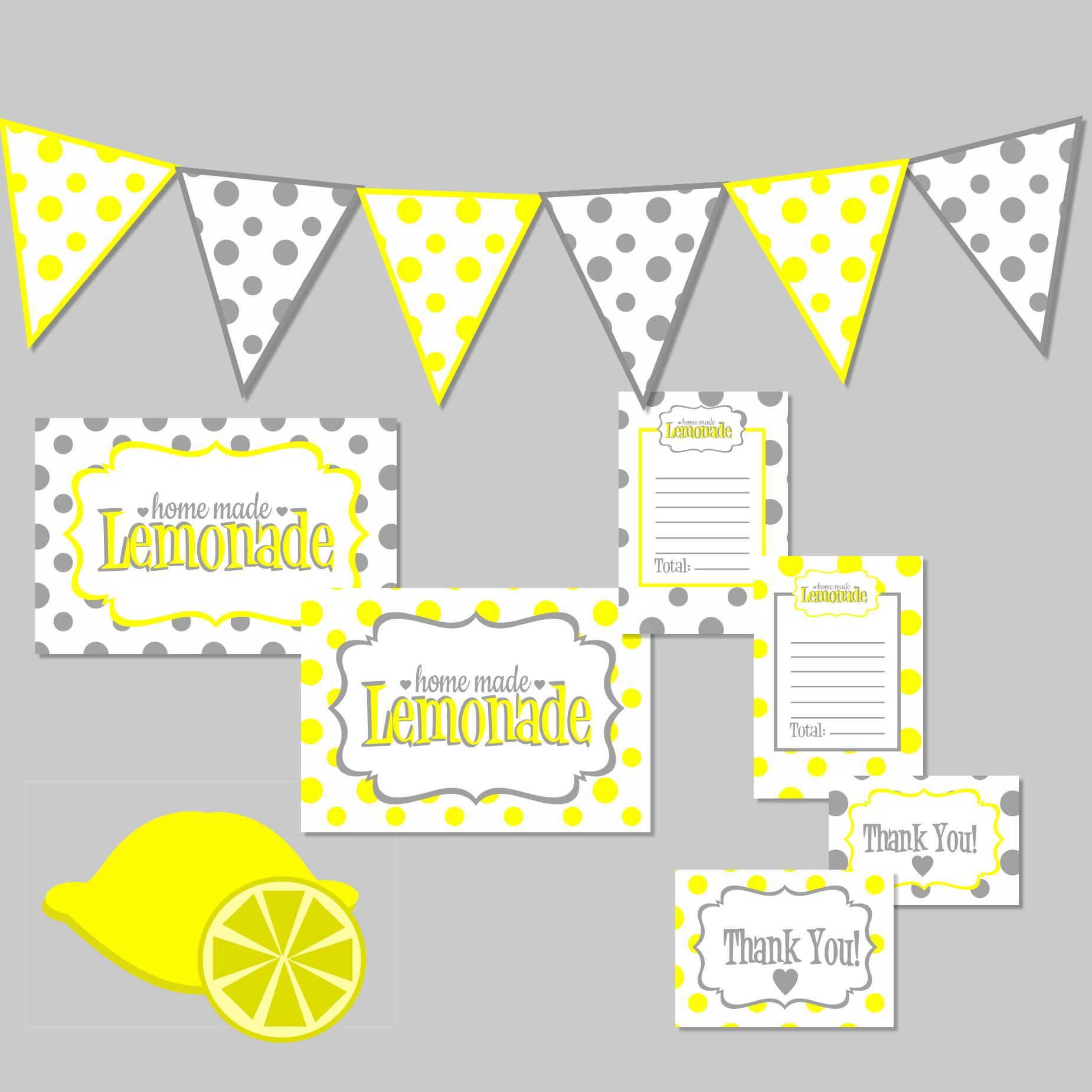 Lemonade Stand Kit Free Printable Digital Download From Maaddhappy Comes With Banner Lemonade