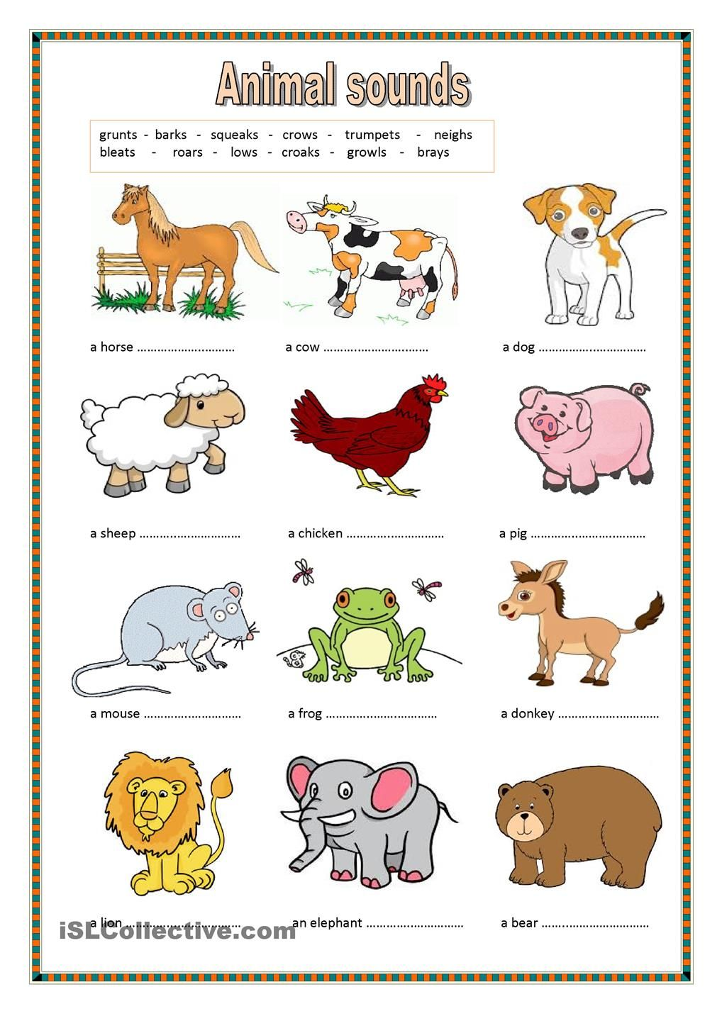 Animal sounds. (key included) animals Pinterest