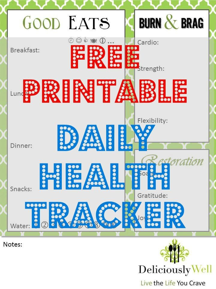 Free Printable Daily Health Journal personal Pinterest