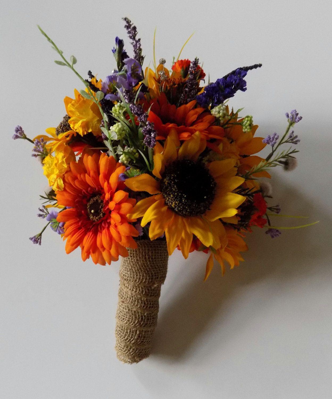 Wildflower Wedding Bouquet, Sunflower Bridal Bouquet