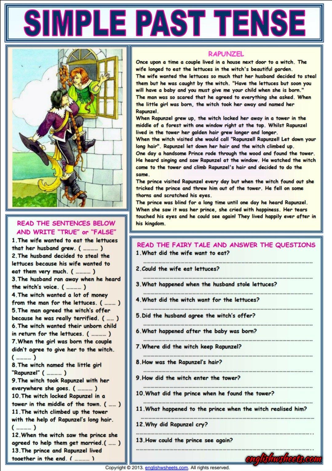 Rapunzel Comprehension Esl Exercises Worksheet