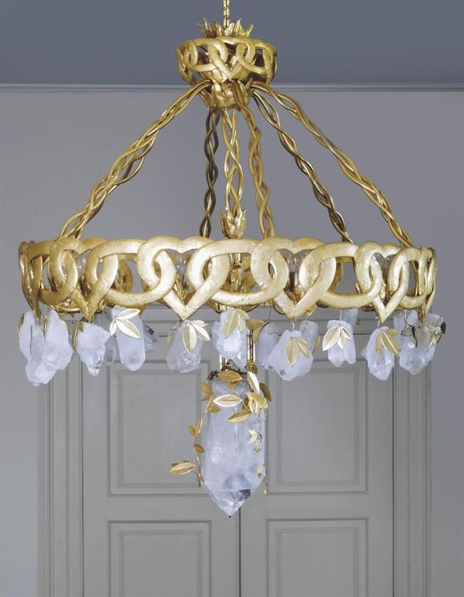 A French Rock Crystal And Gilt Bronze Chandelier By Goossens Paris Circa 1970 The Body Formed From Band Of Interlinked Hearts Ovals Issuing