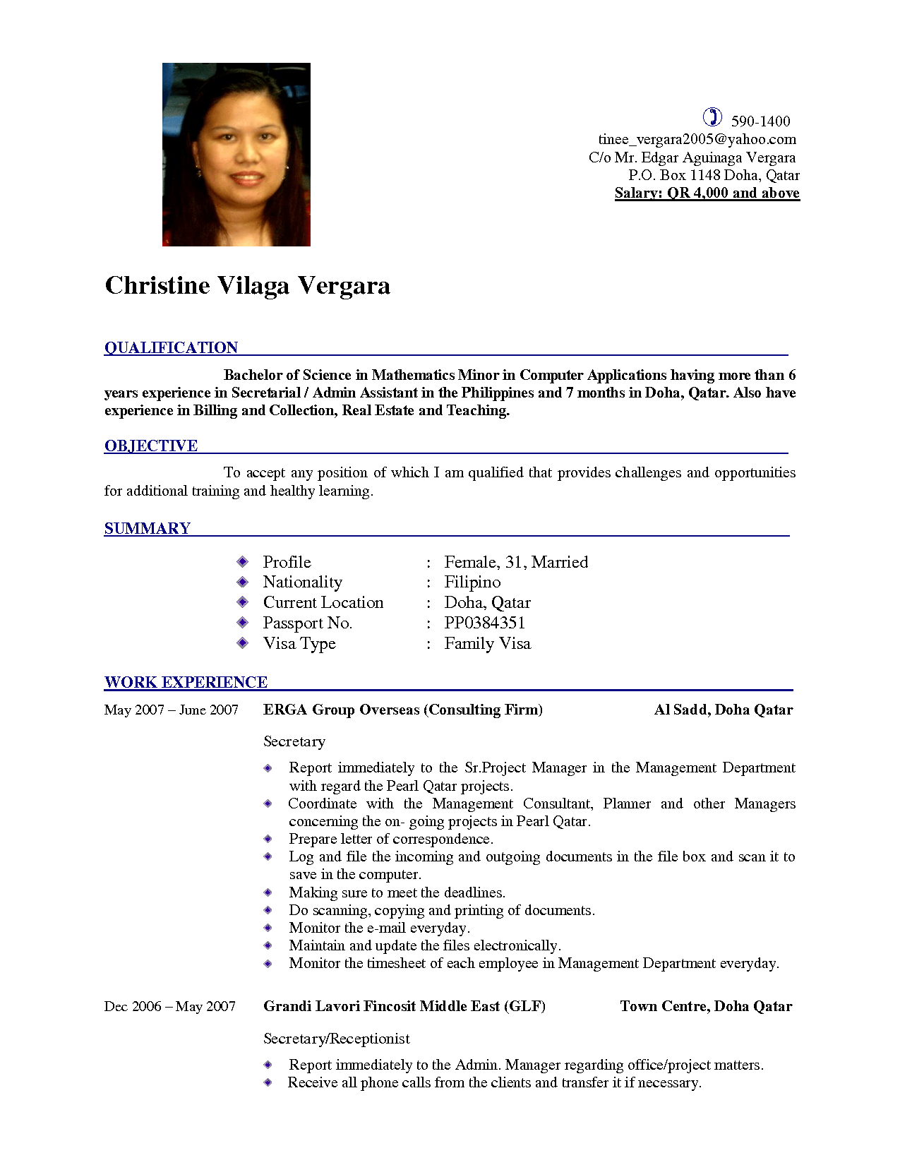 Latest Cv New Format With Salary Places to Visit