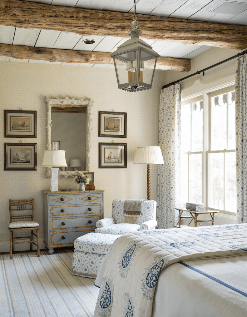 Airy country cottage bedroom style with whitewashed