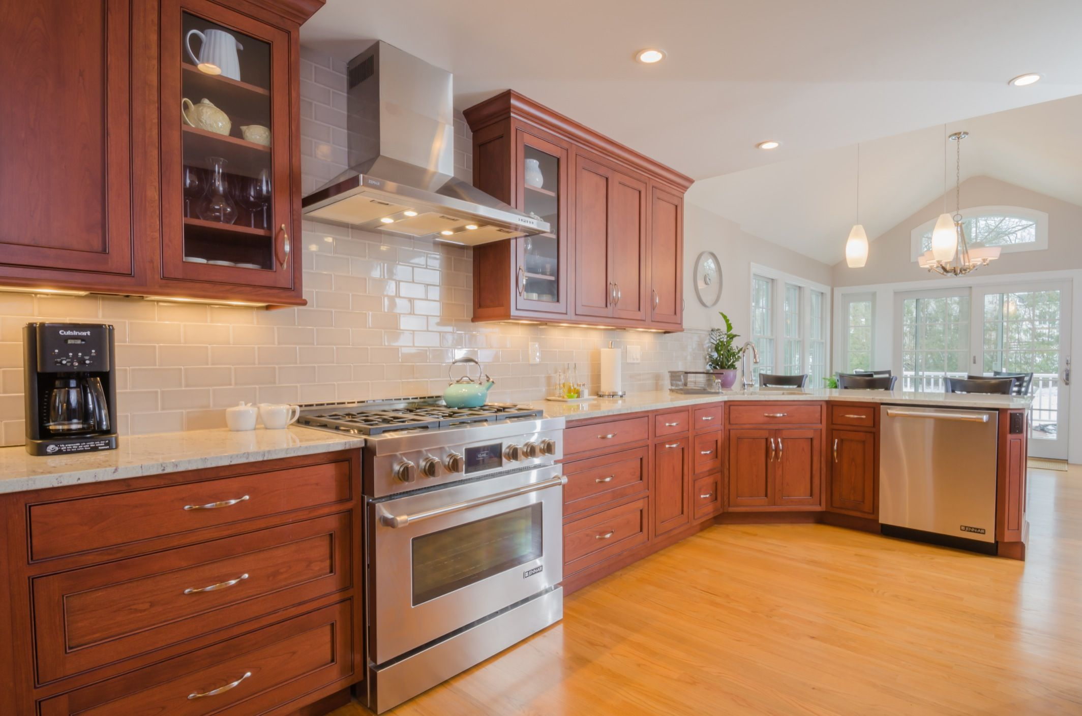 Off white subway tile and simple pattern granite or marble