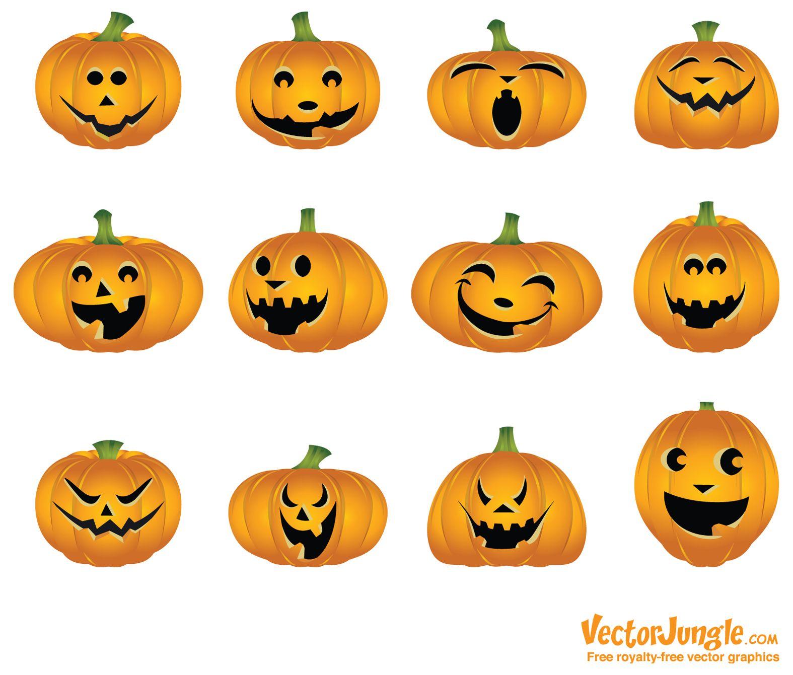 Happy+Jack+O+Lantern+Faces Free Halloween Vector