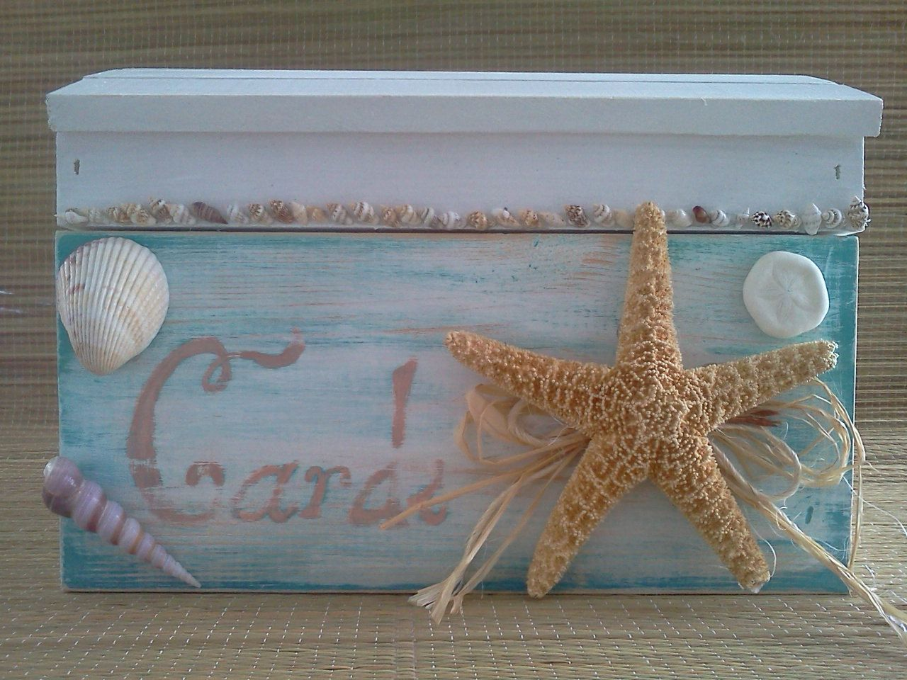 SALE Rustic, distressed beach wedding card box treasure