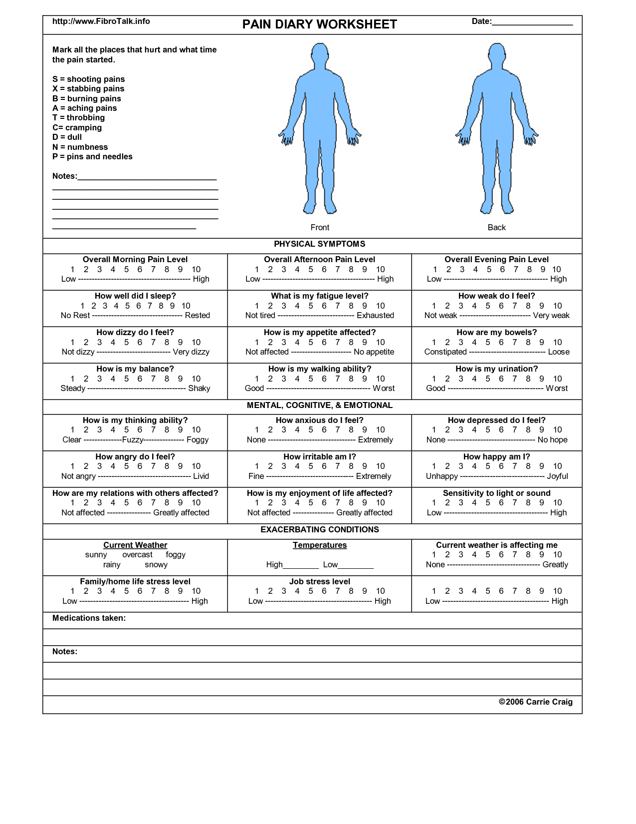 Pain Diary Worksheet