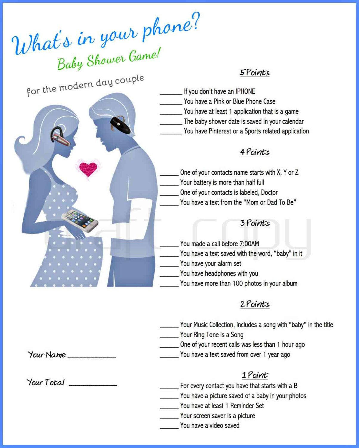 Baby Shower Game Printable Game For Couples By 31flavorsofdesign