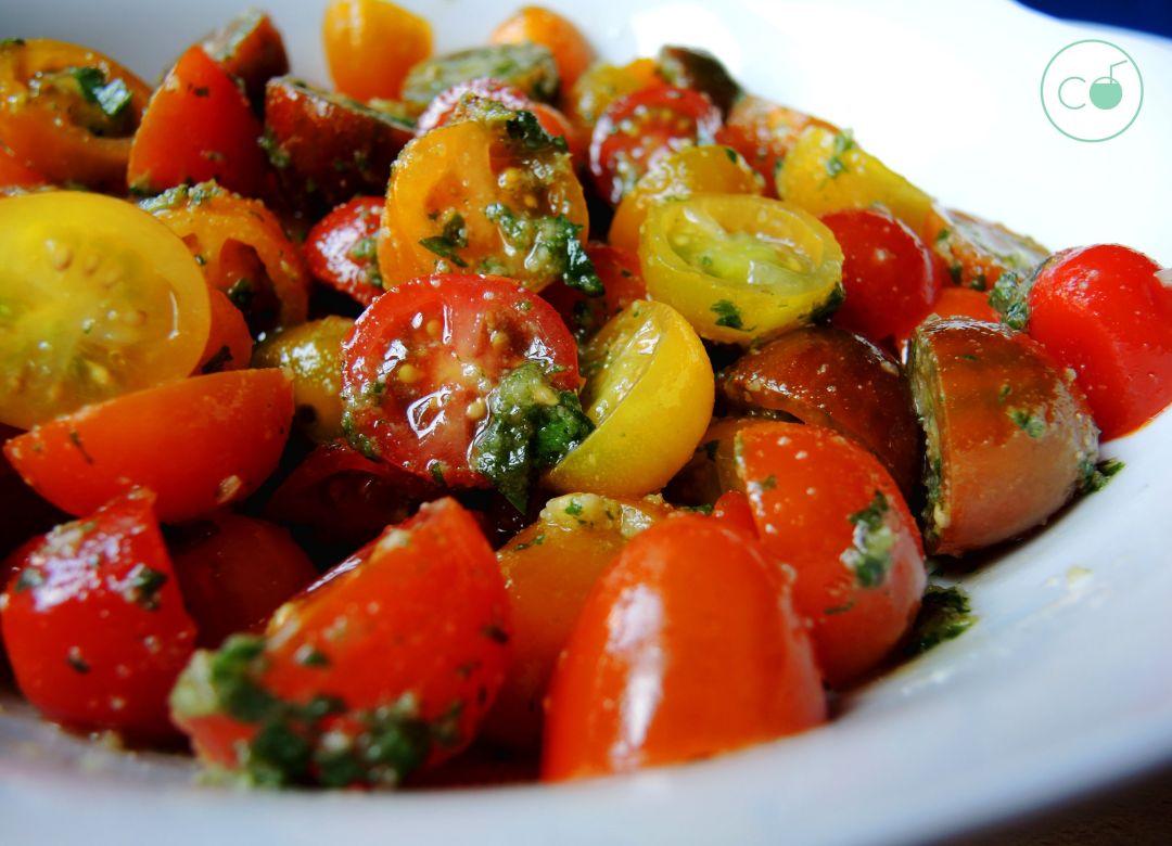 ensalada cherrys,comida real,pesto de nueces,ensalada tomates cherry,ensalada paleo,ensalada vegetariana,ensalada saludable,receta saludable