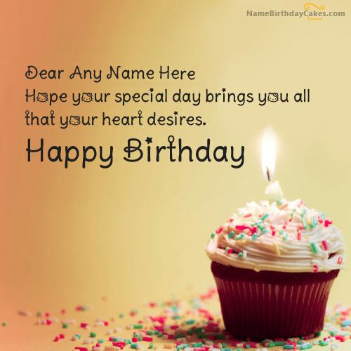 Cupcake Birthday Wish With Name http//www