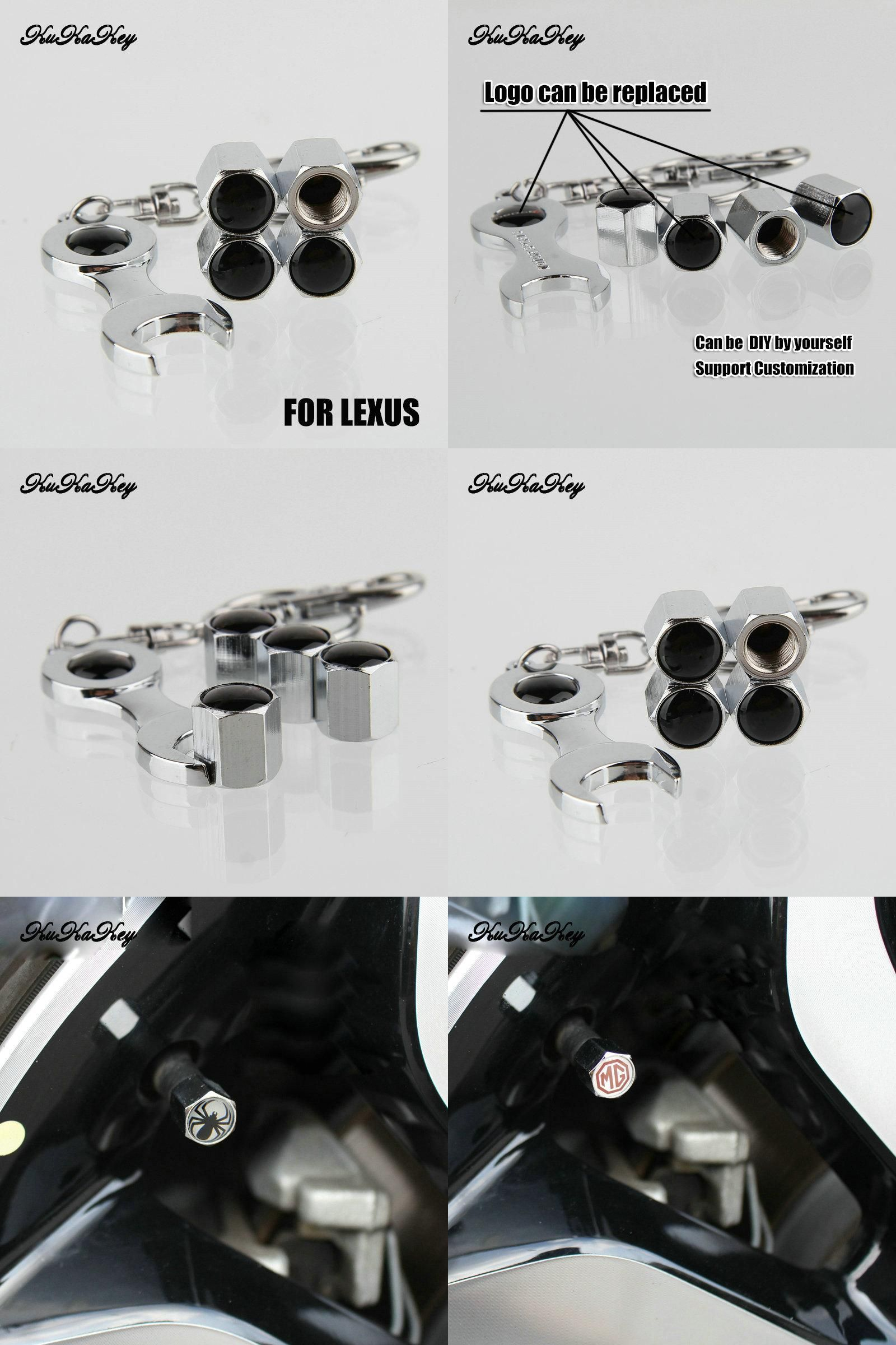 Visit to Buy] 4 Caps 1 Wrench Metal Motorcycle Wheel Tire Valve