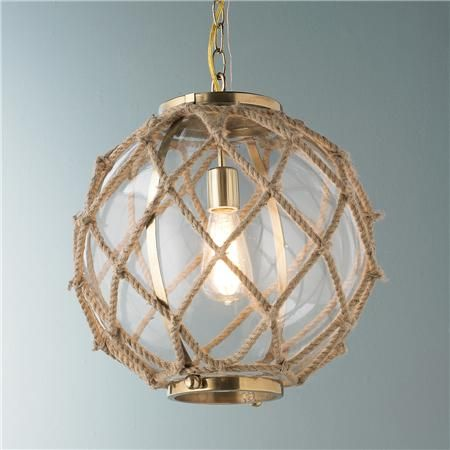 Jute Rope Nautical Pendant Glass Bowls Hand Wred With Thick Natural Create This Style A Chic Coastal Look For Beach Homes And