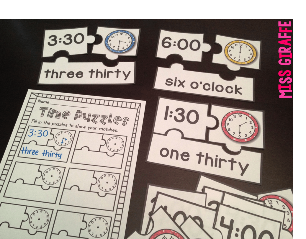 Telling Time Puzzles For Telling Time To The Hour And Half Hour