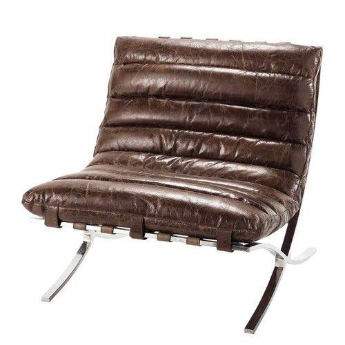 beaubourg fauteuil en cuir marron effet vieilli