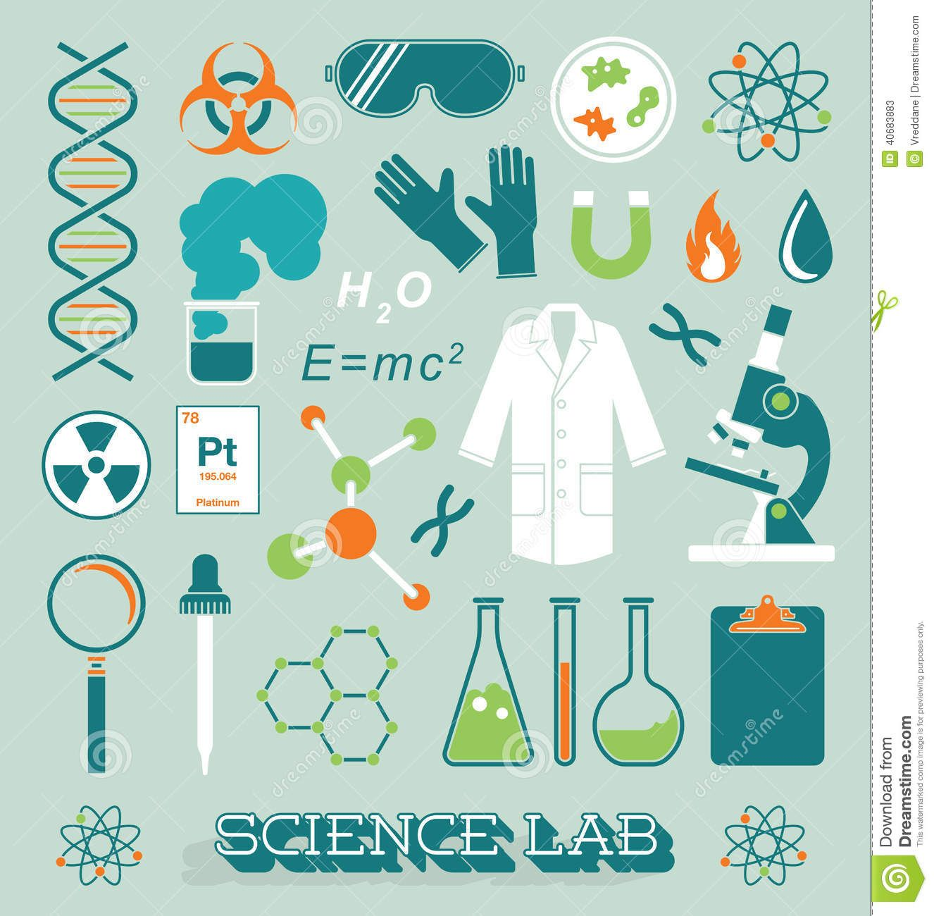 Vector Set Science Lab Icons And Objects Creative