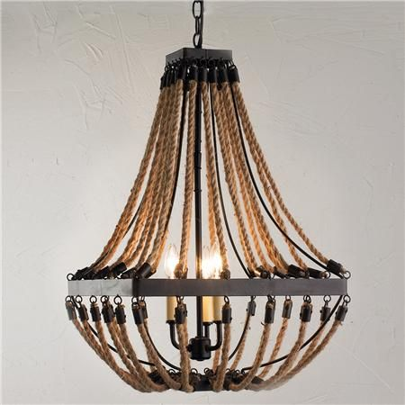 Nautical Rope And Bronze Square Chandelier