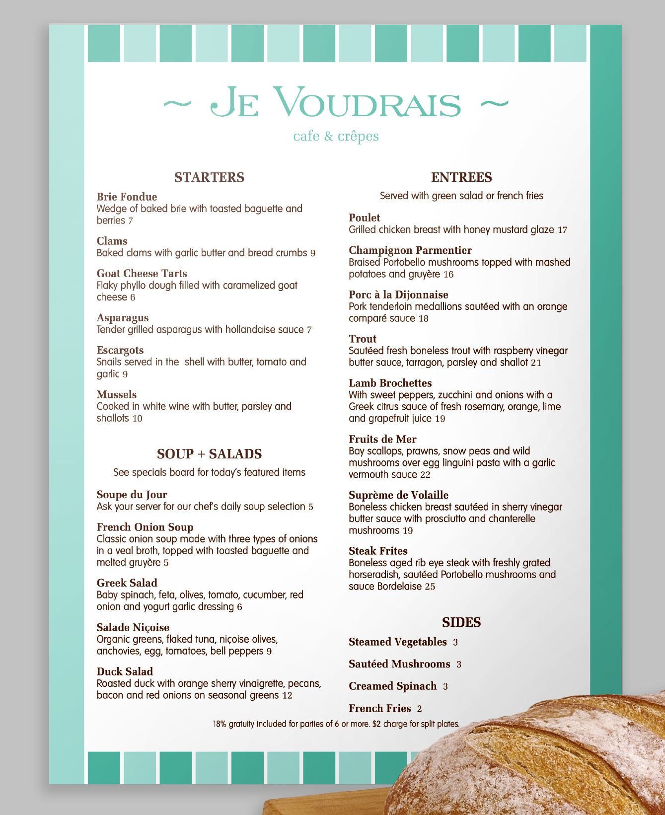 A Modern French Menu With A Stripe Design In Two Neat