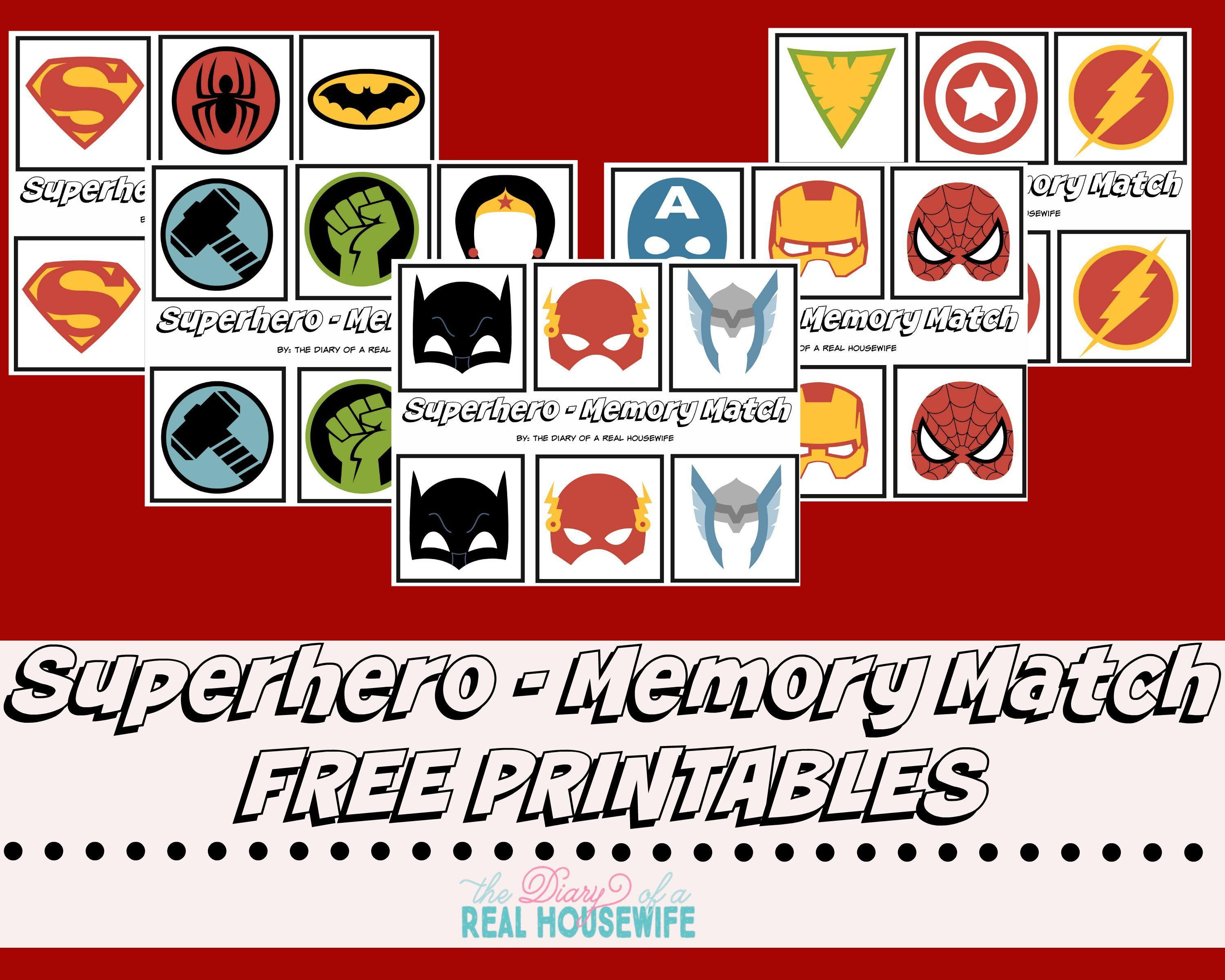 Superhero Memory Match Free Prints