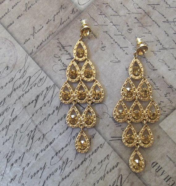 Fancy Canary Amber Rhinestone Gold Base Finish Wedding Chandelier Earrings Great Gatsby Inspired Style