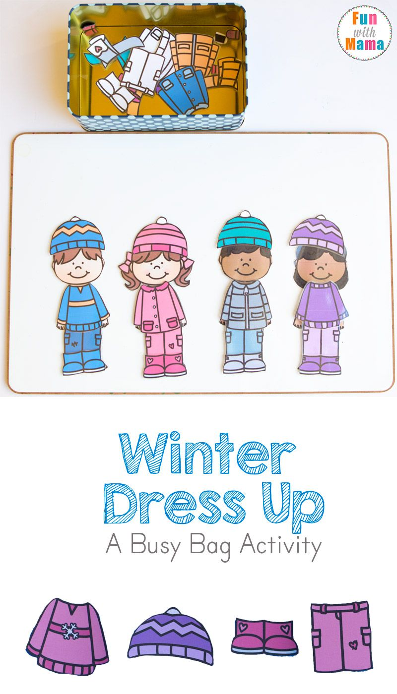 Printable Winter Paper Dolls Dress Up Busy Bag Kids