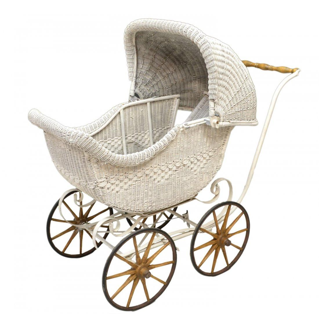 WICKER BABY CARRIAGE, C. 1920'S Vintage adoration