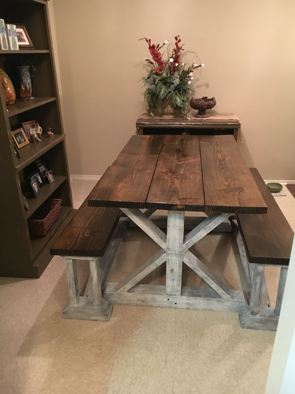 Handmade Farmhouse table with benches Handmade Furniture