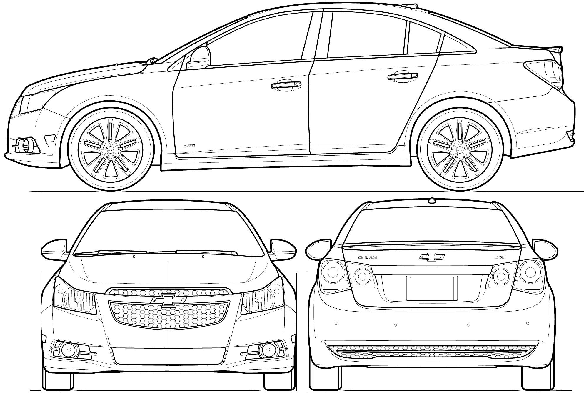 Blueprints Chevrolet Cruze Model Sheet
