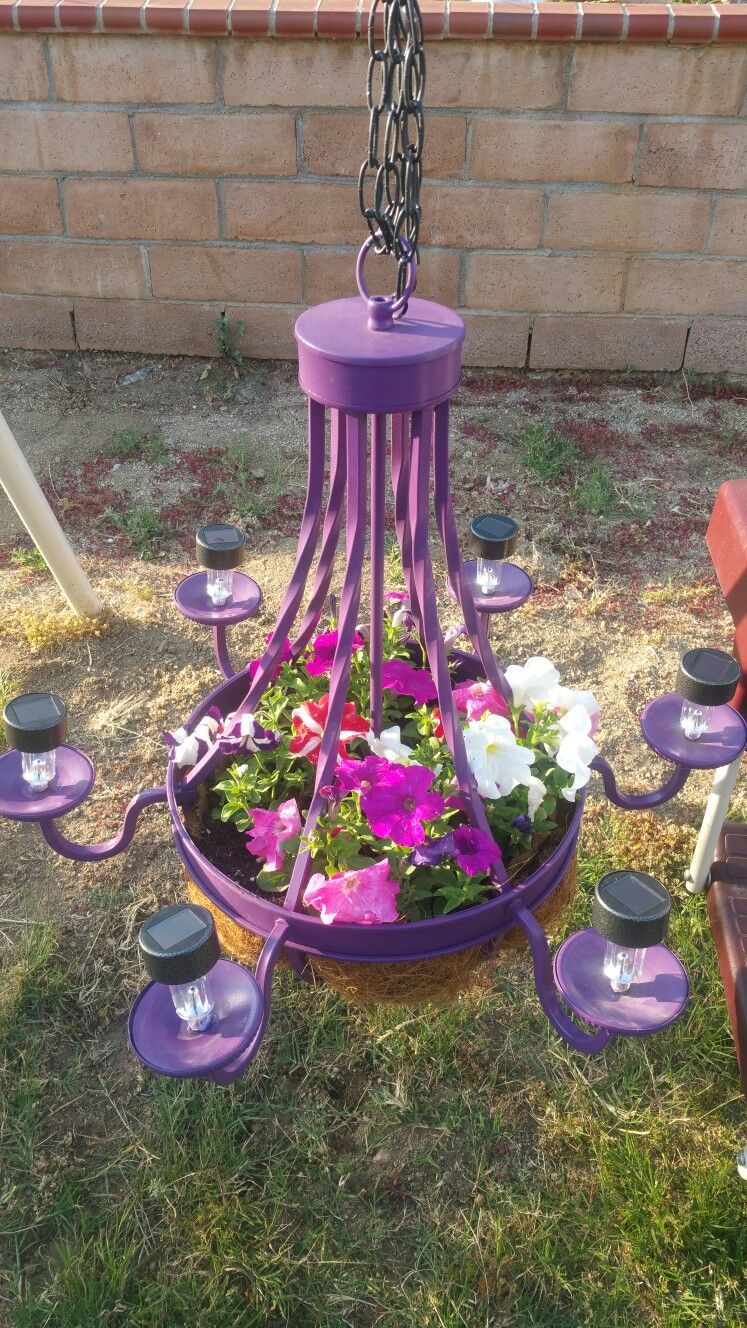 Flowers chandelier with solar lights landscaping
