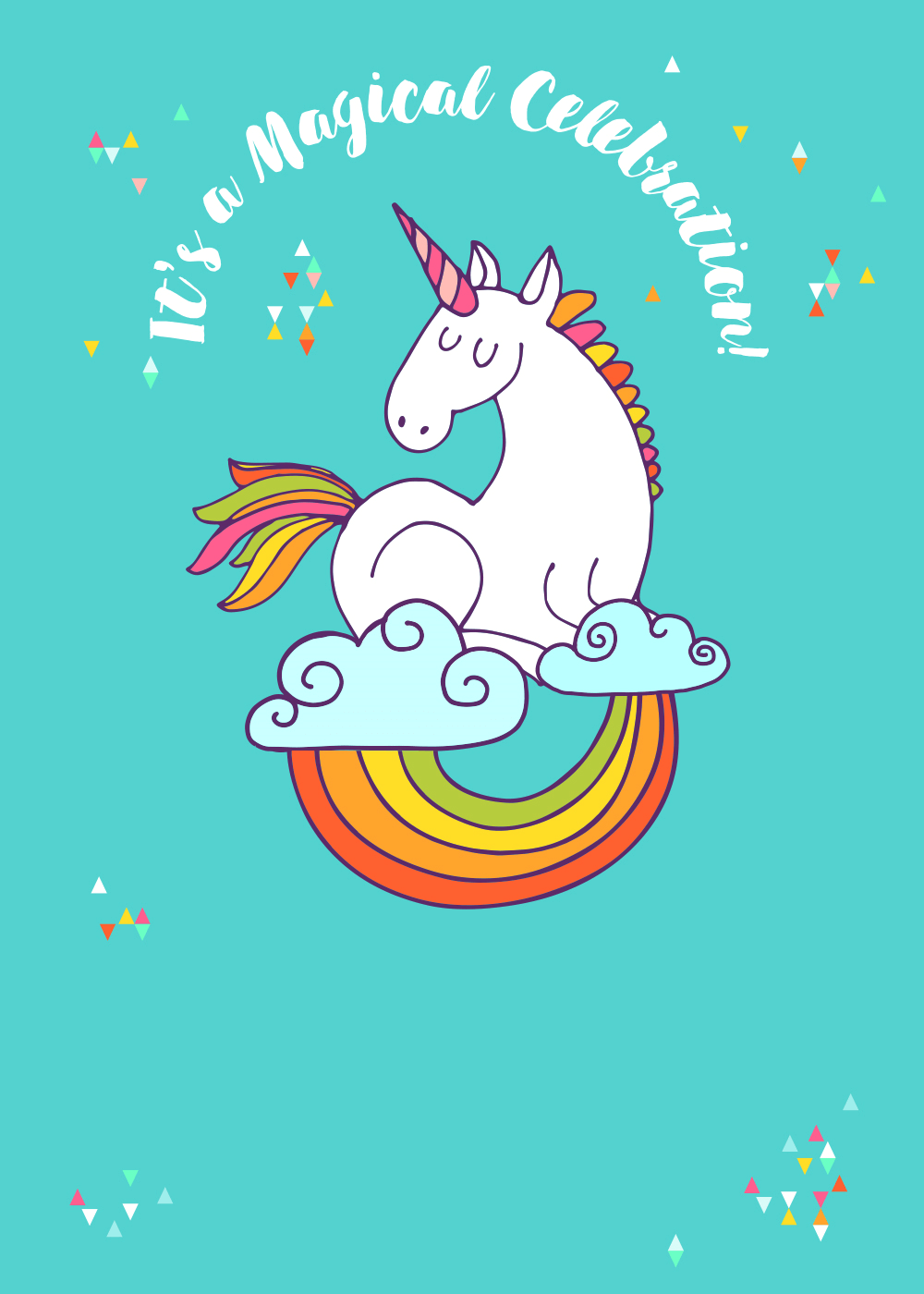 Unicorn Magic Free Printable Birthday Invitation