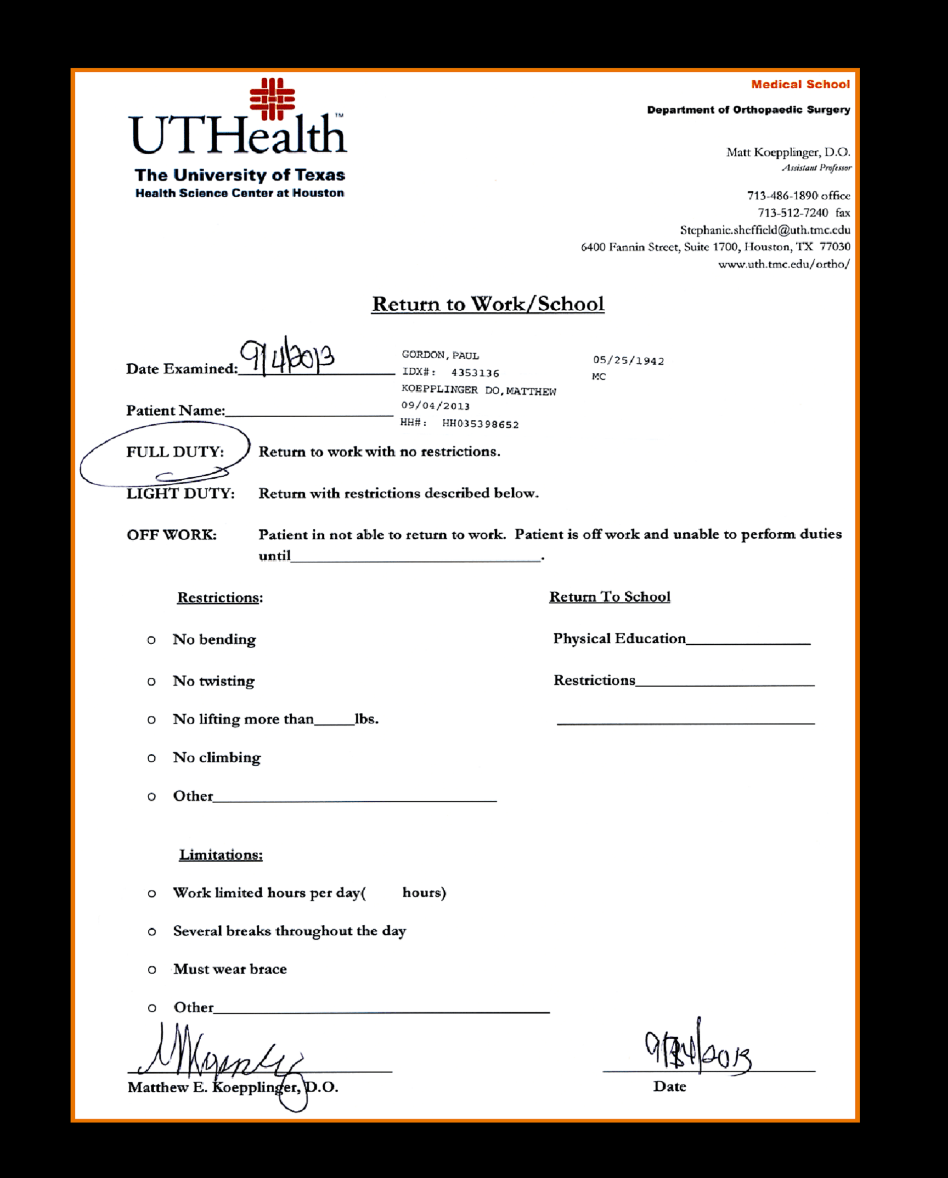 Hospital Note Work Excuse Template Fake Emergency
