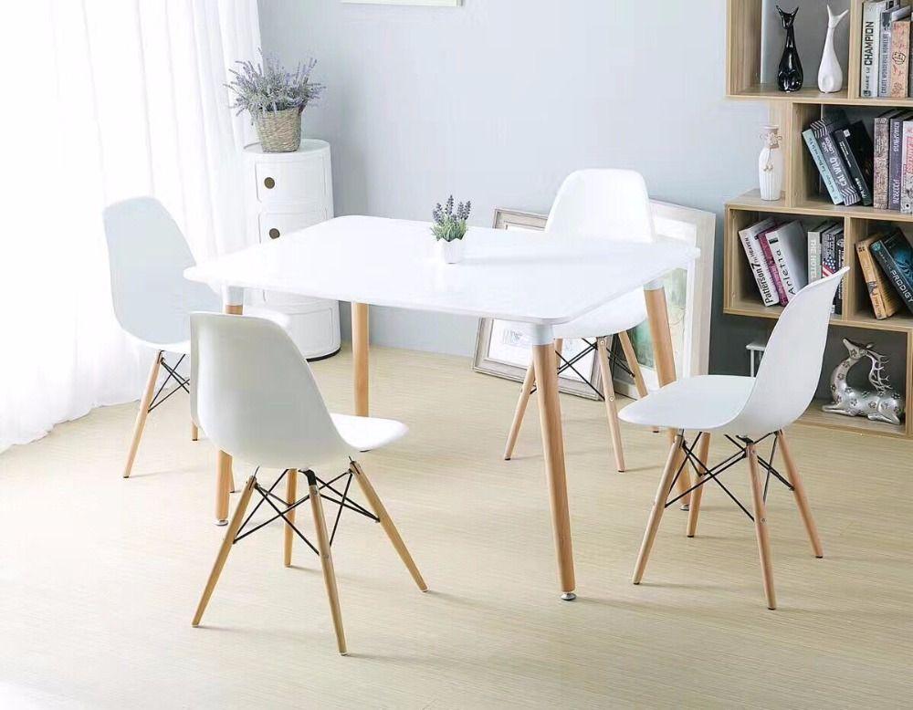 minimaliste moderne conception a manger ensemble de meubles 1 table 4 chaises en plastique chaise en