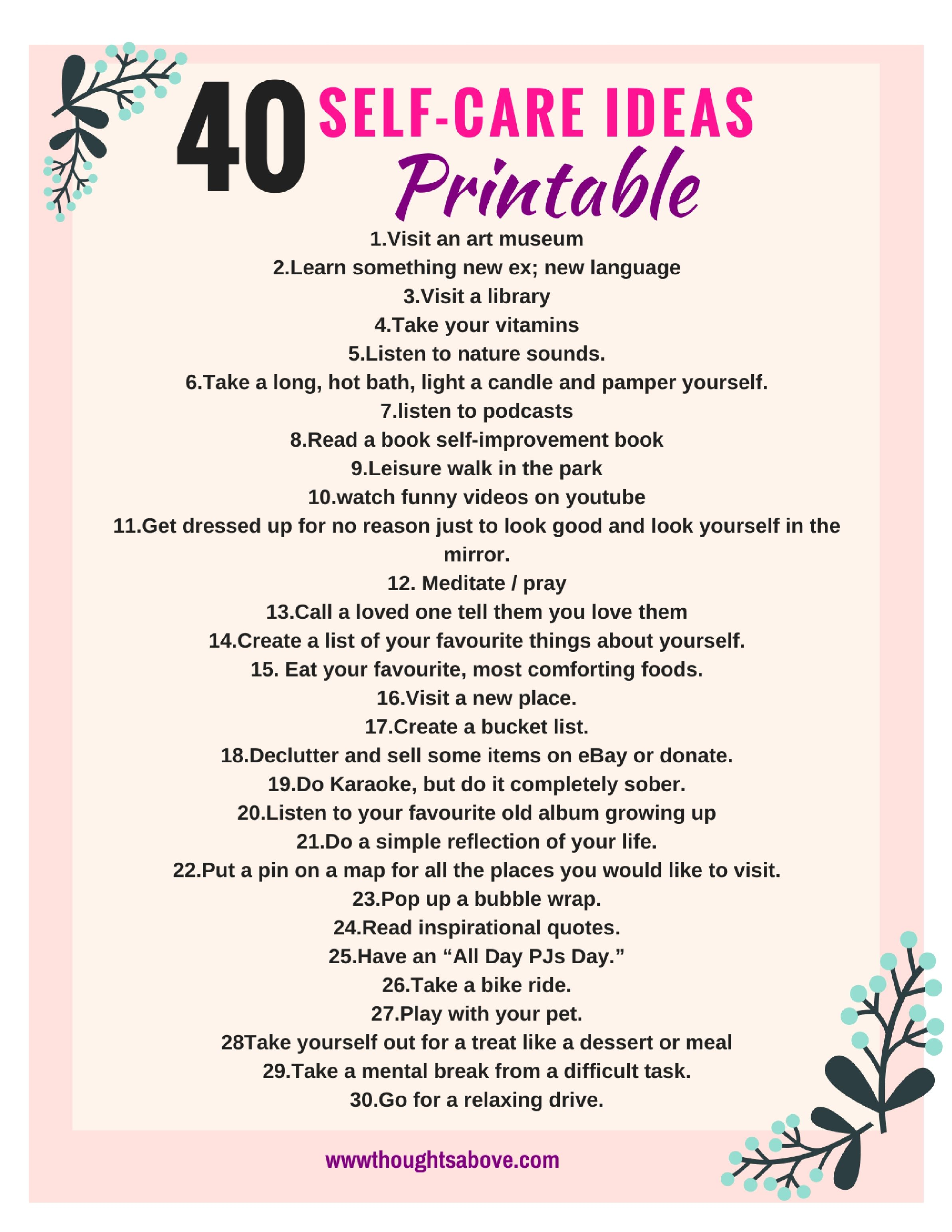 Self Care Printable And Worksheet Free