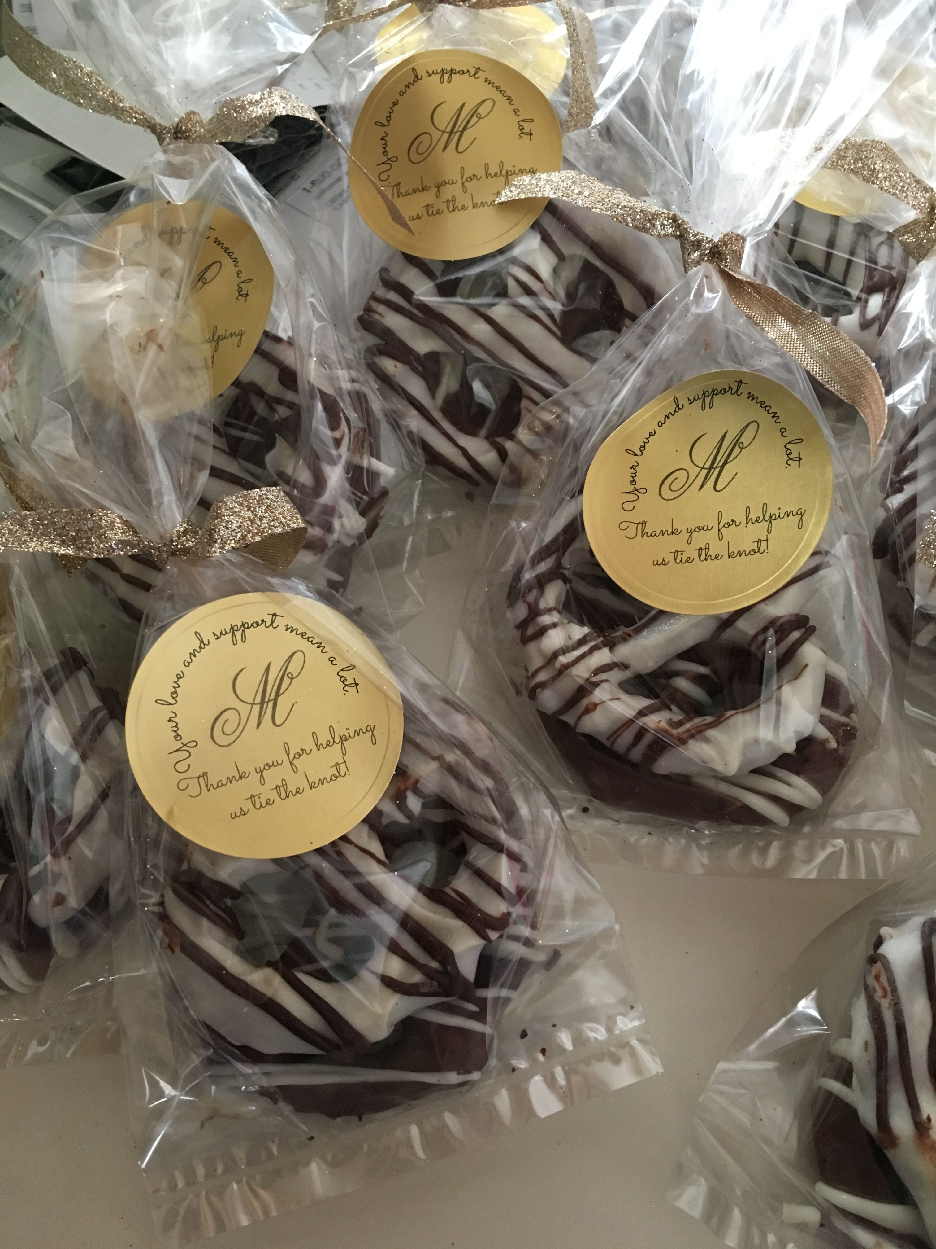 Chocolate Covered Pretzel Knots Wedding Favors weddin