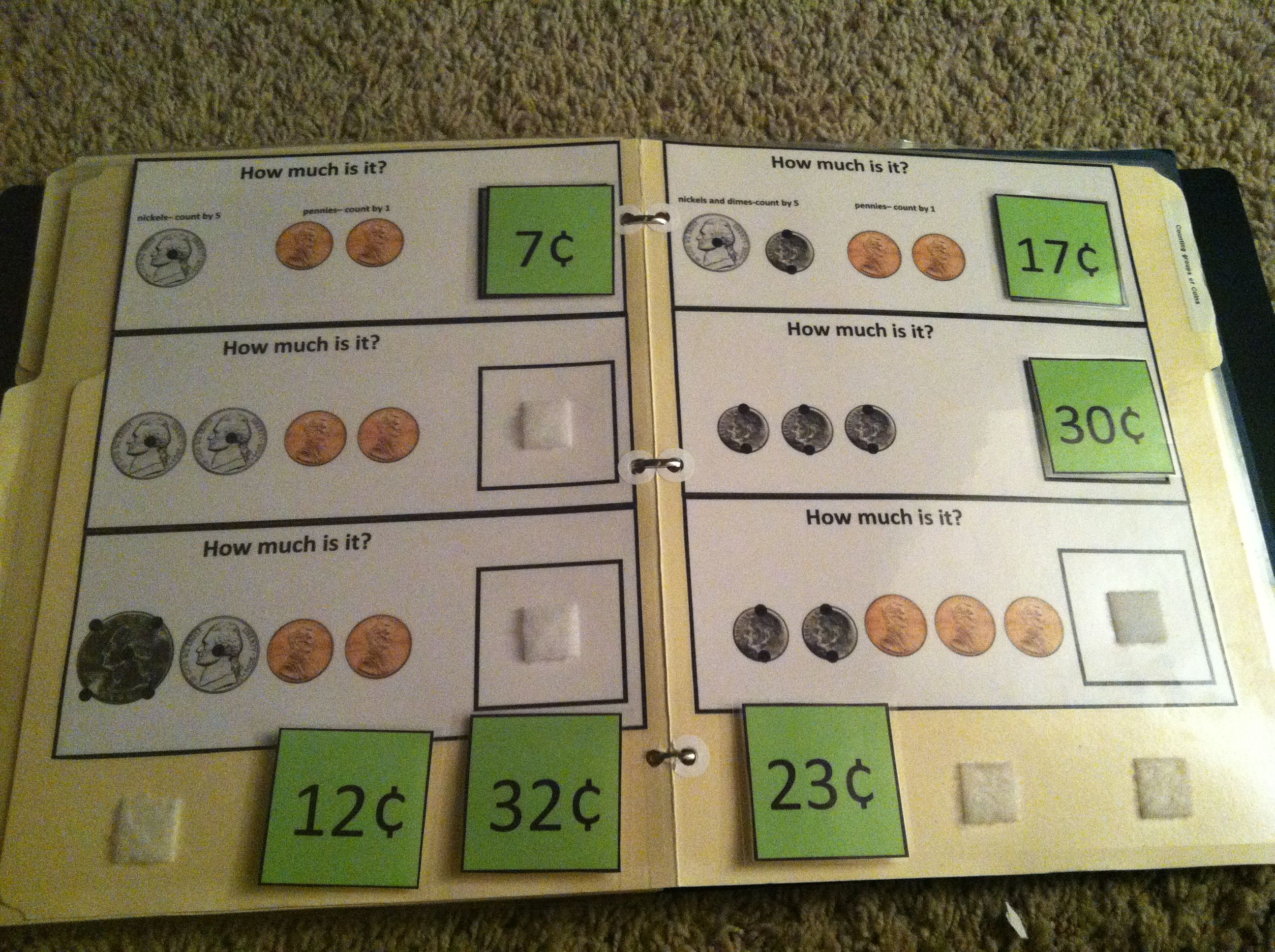 Counting Coins File Folder Task With Touchmoney Laminate