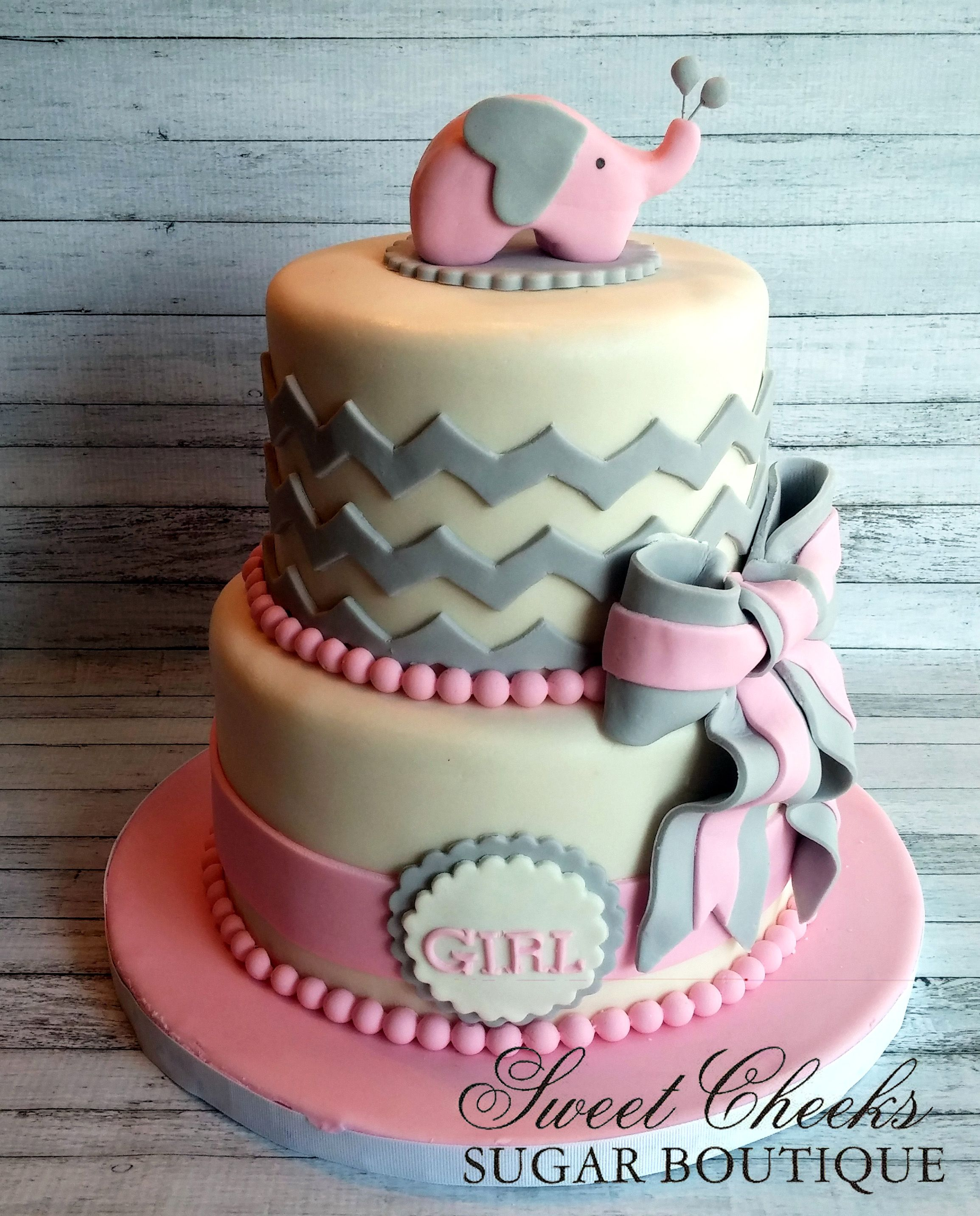A Pretty Pink And Gray Baby Shower Cake W Pink Elephant