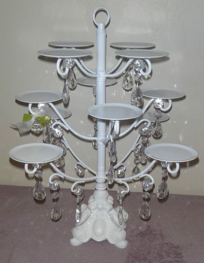 Amazing Ont Treasures White With Crystal 12 Cupcake Stand Holder Ornate Base Onttreasures