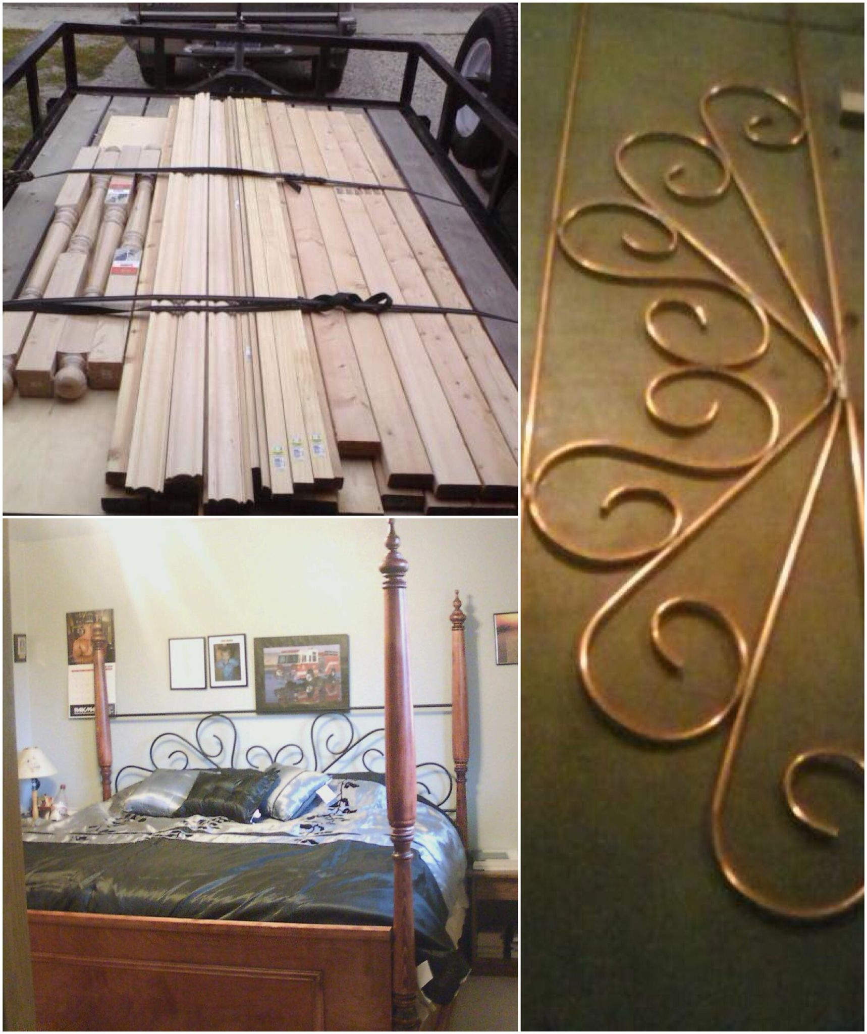 King Sized Poster Bed Frame I Used Copper Pipe For The